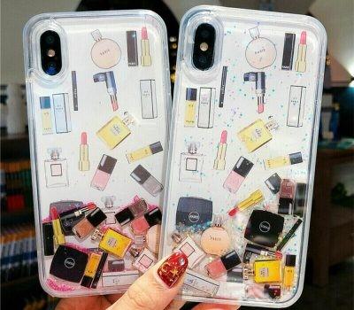 Neon Sand Phone Case for iPhone | Liquid Glitter Purple Beach ...